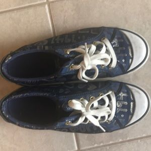 Coach navy sneakers size 8,5 with gold lettering